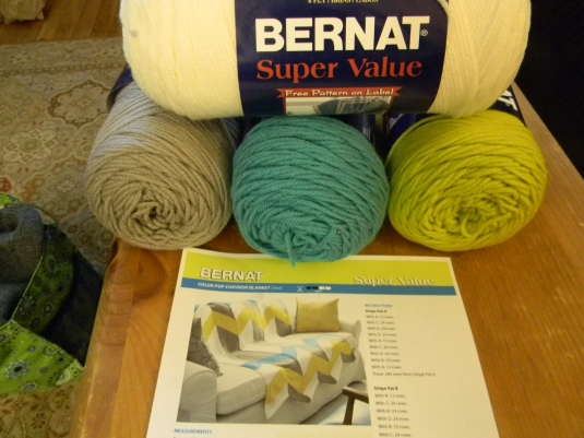 Bernat Afghan pattern and NEW YARN!